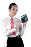 Chinese office lady calculating. Elegant office girl calculating numbers, holding calculator, wearing elegant clothes Royalty Free Stock Images