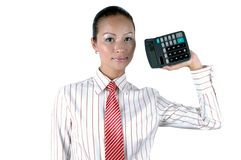 Chinese office lady with calculator. Pretty Chinese office girl holding calculator, wearing elegant shirt and red tie Royalty Free Stock Photography