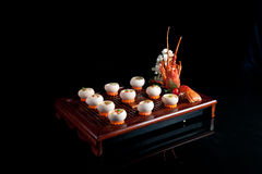 Chinese official food fried lobster eggs stock images