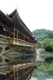 Chinese old bridge made of wood in west china Stock Image