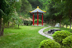 Chinese old-fashioned gazebo in springtime Stock Photo