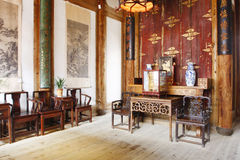Chinese old house. Building interior of Chinese old house with wooden table and chair Stock Photo