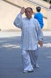 Chinese old man are playing taiji Stock Photo