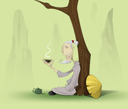 Chinese old man sitting under the tree Stock Photography