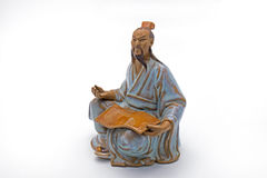 Chinese Old Man Thoughtful Statue on White Background Stock Photography