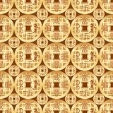 Chinese old money gold symmetry seamless pattern. This illustration is drawing China ancient coin money with modern golden color in seamless pattern Royalty Free Stock Photo