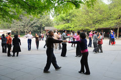 Chinese old people dancing. In leisure time, Chinese old people dancing In order to exercise in the park stock image