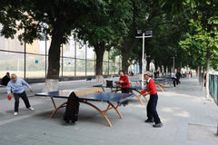 Chinese old people playing table tennis Royalty Free Stock Photos