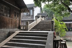 Chinese old stone bridge in Wuzhen Royalty Free Stock Images