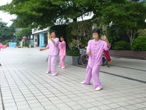 Chinese older women are playing Tai Chi Stock Photography