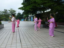 Chinese older women are playing Tai Chi Royalty Free Stock Image