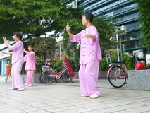 Chinese older women are playing Tai Chi Stock Photos