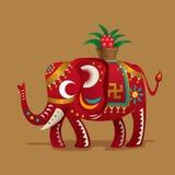 Chinese olifant met een installatie van Altijdgroen Royalty-vrije Stock Afbeeldingen