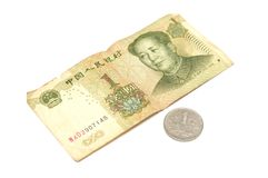 Chinese one dollar note and coin Royalty Free Stock Images