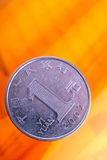 Chinese one yuan coin. Close- up Stock Image