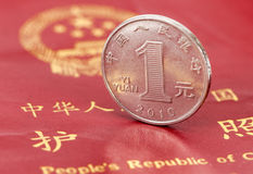 Chinese one yuan coin against the background of the pass Stock Photos