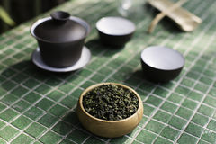 Chinese Oolong tea. Chinese semi-oxidized tea (Oolong) from Anxi area in Fujian province. This tea was harvested in Autumn and its name is Cold Fragrance. The Stock Photo