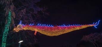 Chinese oosterse die draak van lichten wordt gemaakt stock afbeeldingen