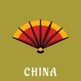 Chinese open vouwende ventilator in vlakke stijl Stock Afbeeldingen