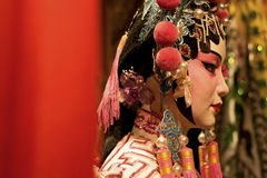 Chinese opera dummy and red cloth as text space Stock Images