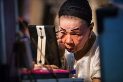 Chinese Opera member prepares at backstage Royalty Free Stock Image