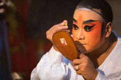 Chinese Opera member prepares at backstage Royalty Free Stock Photography
