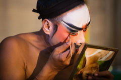 Chinese Opera member prepares at backstage Stock Images
