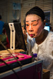 Chinese Opera member prepares at backstage Stock Photos