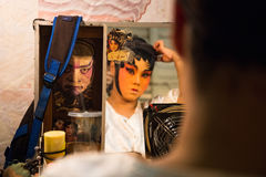 Chinese Opera member prepares at backstage Royalty Free Stock Images