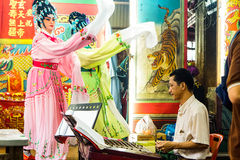 Chinese opera. Player and chinese dulcimer player in Thailand Stock Photos