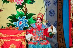 Chinese Operaacteur en actrice met volledige make-up stock foto