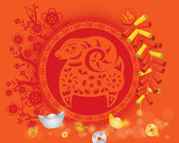 Chinese Orange CNY sheep background. With money and Firecracker Stock Photo