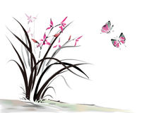 Orchid and butterfly. Chinese Orchid and butterfly ink style vector illustration