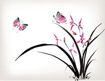 Orchid and butterfly. Chinese Orchid and butterfly ink style Stock Photo