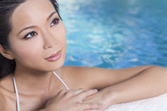 Chinese Oriental Asian Woman In Swimming Pool Stock Photos