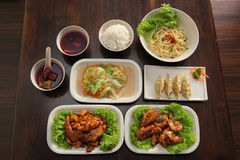 Chinese Oriental Set Meal. Healthy Chinese Oriental set meal on table stock image