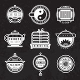 Chinese oriental tea shop badges. Vector. Royalty Free Stock Photography
