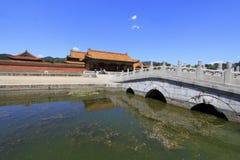 Chinese oude architectuur in de Oostelijke Koninklijke Graven van Q royalty-vrije stock afbeeldingen