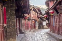 Chinese oude stad in de ochtend, Lijiang Yunnan, China Stock Foto's