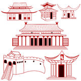 Chinese outlined traditional buildings Stock Photo