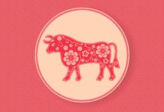 Chinese Ox. Lunar New Year banner design template. Red wavy pattern. Zodiac sign. Abstract flower texture. Bull silhouette. vector illustration