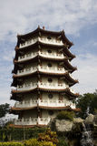 Chinese Pagoda. A seven story Chinese pagoda against a blue sky royalty free stock photography