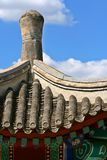 Chinese Pagoda. Chinese pagoda photographed showing a blue sky with focus on detail of roof Royalty Free Stock Image