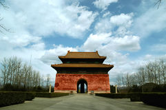 Chinese Pagoda. This gate is close to Beijing. This building is one entrance of the Ming Tombs. The blue sky is very rare there Royalty Free Stock Images