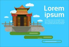 Chinese Pagoda Building View Asian Traditional Landscape Background Orient Architecture Element Concept. Flat Vector Illustration Royalty Free Illustration