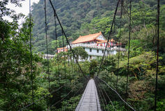 The Chinese pagoda with cable bridge in Hualien, Taiwan Stock Photo