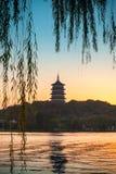 Chinese pagoda on the coast of West Lake Stock Image