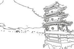 Chinese pagoda and lake sketch Royalty Free Stock Images