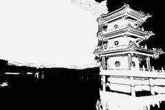 Chinese pagoda and lake sketch Royalty Free Stock Photography