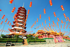 Chinese pagoda and lanterns during chinese new year Stock Photos